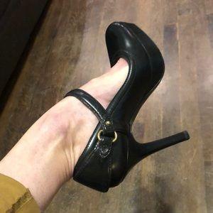 Gucci Black & Gold Buckle platform heels